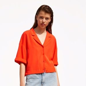 ZARA NEW Pleated Cropped Top Button Shirt Blouse